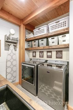 Floating shelves pull out drying racks and hanging rods ana white laundry room above top load Laundry Room Shelves, Laundry Closet, Closet Shelves, Laundry Room Organization, Organizing, Laundry Organizer, Garage Laundry, Ikea Closet, Laundry Storage