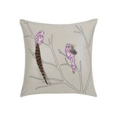 Down-filled cotton-linen pillow with an embroidered bird motif and natural feather accents.    Product: Pillow  Construction Material: Linen, cotton blend cover and down fill  Color: Metallic   Features: Insert included  Dimensions: 18 x 18   Note: Second image depicts back of pillow