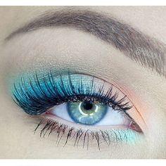 Sea blu, peach, aqua inner corner - - Make-up - Accesorios para Maquillaje Makeup Goals, Makeup Inspo, Makeup Art, Makeup Inspiration, Makeup Tips, Fairy Makeup, Makeup Ideas, Mermaid Makeup, Pastel Makeup
