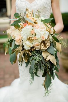 Metallic gold bouquet with deep green leaves // So Baylor Proud!