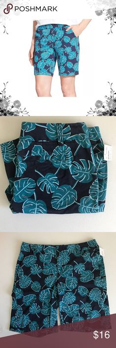 Leaf Print Chino Shorts Khaki, Chino. Leaf Print. Weathered Navy Blue/Teal. Easygoing shorts of stretch twill are cut a bit longer so hems can easily be rolled or unrolled. Zip fly with hook-and-bar closure. 4 pocket construction. Bundle for discounts! Thank you for shopping my closet! Caslon Shorts Bermudas