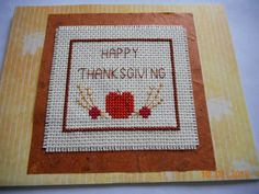 cross stitch Thanksgiving card available in my etsy shop DebbyWebbysCards