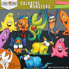Colorful Monsters Clip Art by Sarah Pecorino Illustration. Hand drawn and painted with a watercolor style. Black and white line art included. 20 files total.