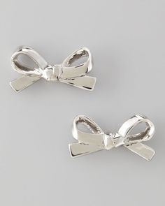 NWT $48 Kate Spade New York Mini Bow Stud Silver Earrings #KateSpade #Stud
