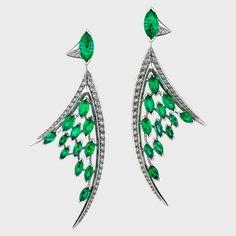 Shaun Leane White diamond and Marquise emerald large Aerial earrings, $45,600 shaunleane.com -