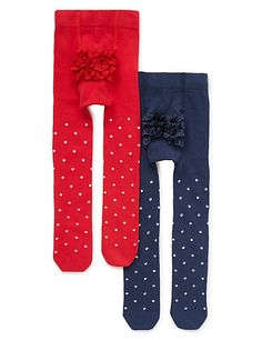 2 Pairs of Cotton Rich Spotted & Frilled Tights | M&S