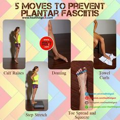 Remedies To Relief Pain 5 Moves to prevent plantar fasciitis. Plantar Fasciitis Exercises, Plantar Fasciitis Treatment, Plantar Fasciitis Shoes, Facitis Plantar, Tendon D'achille, Health And Beauty, Health And Wellness, Massage, Foot Exercises