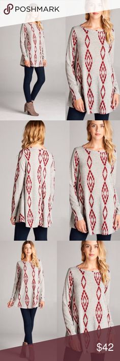 ❣️NEW IN❣️ BURGUNDY AZTEC KNIT TUNIC SWEATER TOP This tunic is too cute! Brand new! Available in S (2-4) M (6-8)  L (10-12)  XL (14-16) Tops Tunics