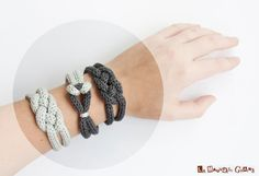 French knitted cotton bracelet  rainy day di LaMauvaiseGraine, €8.80