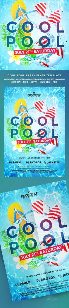 Pool Party Flyer Template PSD. Download here: https://graphicriver.net/item/pool-party-flyer/16963022?ref=ksioks
