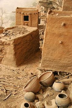 Africa | Typical architecture from the Dogons.  Mopti, Djenne, Mali  | Photographer ?