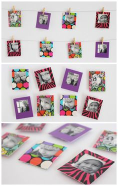 Duck Tape® Mini Instant Photo Frames and Magnets. Such a fun way to decorate with photos! Duct Tape Projects, Duck Tape Crafts, Washi Tape Crafts, Easy Diy Crafts, Crafts To Do, Foto Fun, Tape Art, Decorative Tape, Photo Craft