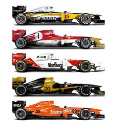 Classic F1 liveries from the past applied to a modern F1 car. Some stunning results. See the full set here