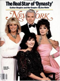 Linda Evans, John Forsythe and Joan Collins on the cover of New York Magazine Dynasty Tv Series, Dynasty Tv Show, Hollywood Story, Classic Hollywood, English Actresses, British Actresses, Classic Series, Classic Tv, Tvs