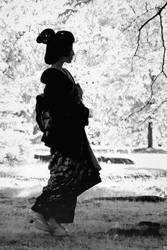 Miss you!!..........    geisha-kai: Geiko Kimiha in black and white (SOURCE)