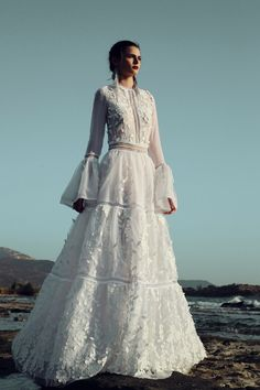 christos costarellos fall 2017 bridal circular flounce long sleeves jewel neck full embellishment romantic vintage a line wedding dress sweep train mv -- Christos Costarellos 2017 Wedding Dresses Wedding Dress Sleeves, Long Sleeve Wedding, Bridal Collection, Dress Collection, Bridal Dresses, Wedding Gowns, Wedding Ceremony, Lace Wedding, 2017 Bridal