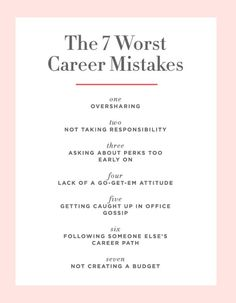 Career infographic & Advice The 7 Career Mistakes Even Savvy Women Make - Cupcakes. Image Description The 7 Career Mistakes Even Savvy Women Make - Career Success, Career Change, Career Goals, Career Advice, Career Ideas, Career Inspiration, Job Career, Career Quotes, Career Path