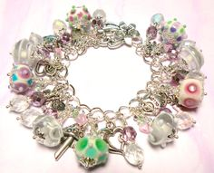 Charm Bracelet using Handmade Lampwork Beads, Czech Beads, Crystals & Charms Arm Bracelets, Toe Rings, Beaded Jewelry, Jewellery, Lampwork Beads, Beading, Gems, Jewels, Crystals