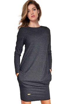 Simple Style Solid Color Long Sleeve Bodycon T-Shirt Dress For Women Bodycon Dresses | RoseGal.com Mobile