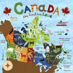 Oopsy Daisy - Canvas Wall Art Canada - The Land We Love By Lesley Grainger, Size: 10 x Multi-color Travel Maps, Travel Posters, Islands In The Pacific, Canada 150, Thinking Day, Vancouver Island, Vancouver Map, Art Wall Kids, Canada Travel