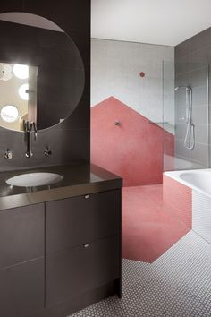 Blush graphic on wall and floor of shower