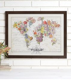 Bouquet Vintage Wall Map Art by wendygold on Etsy, $75.00