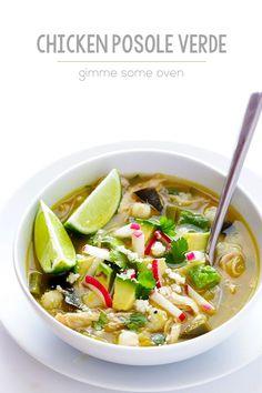 Easy Chicken Posole Verde | gimmesomeoven.com