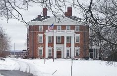"The Barnes-Hiscock House, also known as the Corinthian Club, Syracuse, New York..built in 1851-1853 by industrialist and abolitionist George Barnes, in an Italian villa style. It was later the home of Frank H. Hiscock, ""who served as the chief justice of the New York State Court of Appeals."