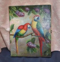 Two PARROTS Painting Stretched Canvas w Grapes Beautiful Color!  10 x 8 in ART #Realism