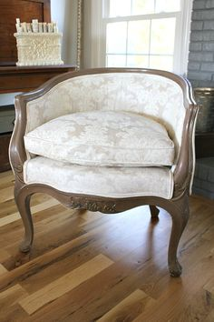 I was gifted two, gorgeous Louis bucket chairs, and I jumped for joy! I knew exactly where I wanted them to go, and couldn't wait to put them in place to see how they looked. Unfortunately the color wasn't working for my decor, so here's how I transformed them into stunners simply by painting the fabric! When I put these yellow, damask bucket chairs in place, I thought, 'this might be my color! I've tried all the other colors – but not yellow! This may be the one!'nopeI lived with th Painting Fabric Chairs, Chair Fabric, Chair Cushions, Painting Furniture, Paint Fabric, Swivel Chair, Old Chairs, Vintage Chairs, Ikea Chairs
