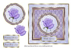 Lilac Rose Sqaure Card Front on Craftsuprint - Add To Basket!