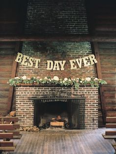 DIY wedding ceremony backdrop over brick fireplace with flowers and sparkly 'Best Day Ever' banner (Diy Wedding Alter) Small Intimate Wedding, Intimate Weddings, Real Weddings, Cowboy Weddings, Barn Weddings, Outdoor Weddings, Wedding Ceremony Backdrop, Wedding Signage, Wedding Banners