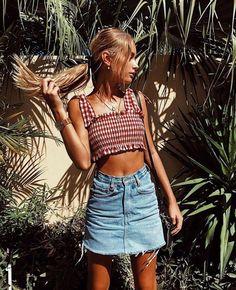 Gingham crop top + denim skirt.