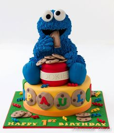 Cake Shaped Like Cookie Monster Noshing on Cookies