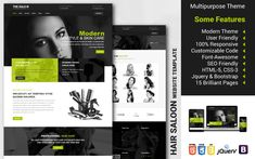 Multipurpose Hair Saloon Website Template Web Design Software, Web Design Tutorials, Saloon Hair, First Website, Social Media Pages, Create Website, Wordpress Template, Website Template, Hair Cuts