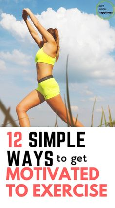 Motivation to exercise needed? Here is 12 simple ways to get motivated to exercise. Weight loss and health follow exercise every day. Great tips to get healthy, Let's face it, motivation to exercise when you are quite comfy on the coach is very difficult. It has been a long day, week, month.. and the last thing your body seems to want to do is exercise. #weightloss #exercise #tipstoloseweight
