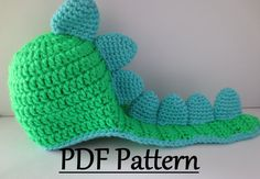 THIS LISTING IS FOR AN INSTANT DOWNLOAD PDF FILE ONLY. NOT THE FINISHED HAT!  Looking for the finished hat? https://www.etsy.com/listing/192830729/crochet-dino-hat-crochet-baby-dinosaur?ref=shop_home_active_20  This pattern contains instructions for 3 Hat sizes: 0-3 Months 3-6 Months 6-9 Months  PATTERN ONLY.  Pattern requires knowledge of: Basic sewing with a yarn needle Chain Magic ring Single Crochet Stitch Double Crochet Stitch Double Crochet Decrease Working in continuous rounds Working…