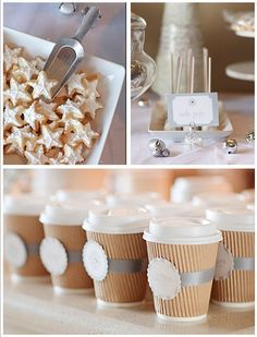 lovely idea for winter warmers - hot chocolate, coffee... soup instead of canapes...