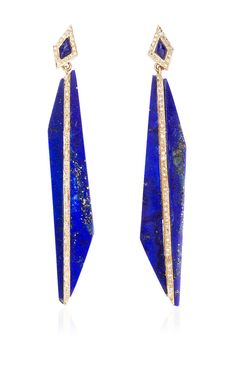 Bisect Long Lapis and Diamond Earrings by MAIYET (=)