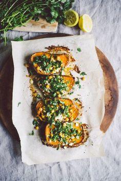 Roasted Sweet Potato Bites w/ Chickpea & Cilantro | Elissa Goodman