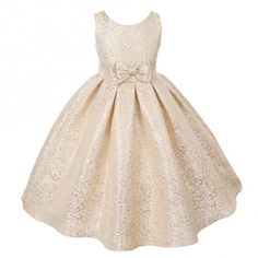 Big Girls Champagne Bow Adorned Floral Brocade Special Occasion Dress 10