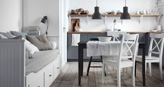 Those soft linen shams and sheets on the Hemnes daybed look heavenly, and we highly recommend some cozy seating like this in the kitchen. Washingtonian 2015