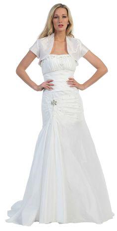 White Strapless Wedding Gown Mermaid Long Includes Bolero Jacket $237.99
