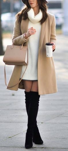 Source by samirahsahori sweater dress outfits leggings Brown Boots Outfit Winter, Winter Coat Outfits, Winter Fashion Outfits, Fall Outfits, Black Boots, Fashion Ideas, Autumn Fashion, Women's Fashion, Outfit Elegantes