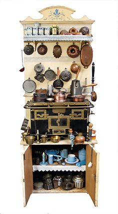 doll's cupboard with stove, from a courtly household : Lot 2500 Mini Kitchen, Miniature Kitchen, Toy Kitchen, Vintage Kitchen, Kitchen Cupboard, Kitchen Utensils, Miniature Furniture, Doll Furniture, Dollhouse Furniture