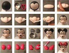 Mickey and Minnie in fondant Bolo Minnie, Minnie Cake, Mickey Cakes, Mickey Mouse Cake, Minnie Mouse Party, Minnie Mouse Cake Topper, Cake Topper Tutorial, Fondant Tutorial, Gateau Theme Mickey