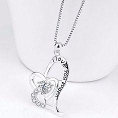 "Fashion Mothers Gift Sterlin Silver Women Necklace Modish Mom Heart 18"" Pendant  #FashionMothersGift #Pendant"