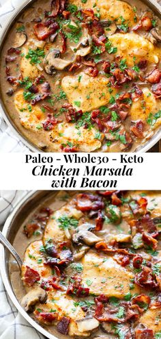 This one-skillet paleo chicken marsala is loaded with flavor! Juicy chicken a creamy mushroom sauce and crispy savory bacon make this a recipe youll want in your dinner rotation! Its dairy-free gluten-free Paleo and compliant. Paleo Whole 30, Whole 30 Recipes, Whole 30 Chicken Recipes, Creamy Mushroom Sauce, Mushroom Chicken, Bon Dessert, Dessert Recipes, Cooking Recipes, Healthy Recipes