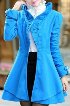 Stylish Stand-Up Collar Long Sleeve Solid Color Flounced Women's Coat Coats | RoseGal.com Mobile