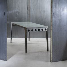 Jean Prouve, refectory table from the Holiday Camp at Saint-Brevin      Ateliers Jean ProuveFrance, 1939fibrated Granipoli concrete, galvanized steel, brass63 w x 28 d x 28.75 h inches. s252
